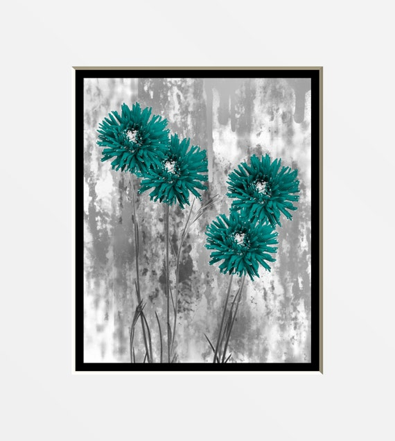 Teal Flower Wall Decor : Contemporary teal gray floral wall art photography bedroom