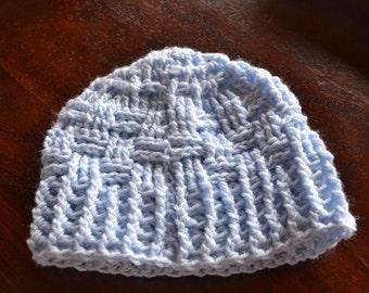 Crocheted Beanie in powder blue