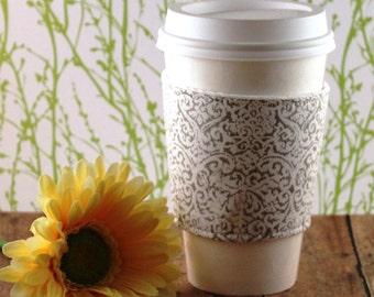 CLEARANCE / Fabric Coffee Cozy / Gray Design Coffee Cozy / Gray Coffee Cozy / Coffee Cozy / Tea Cozy