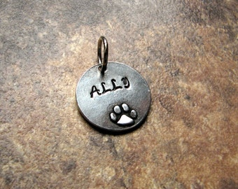 Personalized Pet Tag- Dog Tag- Paw Print- Pewter- Silver- Stamped- Dog Mom- Pendant- Pet charm- Gift for Her- Pet Remembrance- Add a Charm