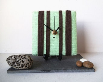 Wool Desk Clock / Small Wall Clock Mint Green and Brown Chocolate Yarn