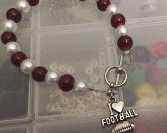 I love football toggle clasp beaded bracelet