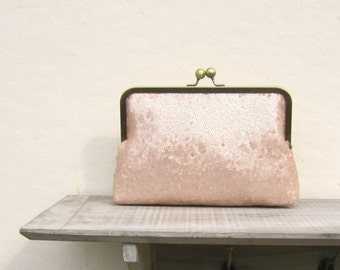 Blush sequin clutch, blush purse, great gatsby wedding, blush bridal clutch, sequin purse, bridesmaid gift, bridesmaid clutch, 1920s wedding