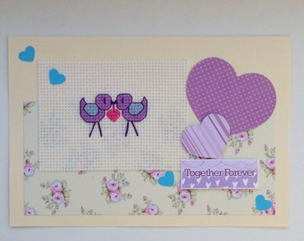 Cross stitch Love birds and hearts original handmade card with the wording 'Together Forever'