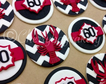 Crawfish Boil Fondant Cupcake Toppers, Crawfish Birthday, Crawfish Decor, Chevron, Edible Toppers