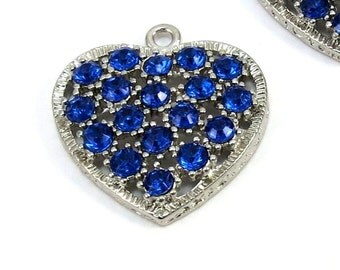 Heart Pendants, 4 Blue Heart Charms with Rhinestone, Jewerly Making Supplies, Crystal Heart Pendant, Item 482m