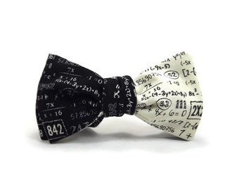 Math bowtie, equations bowtie, reversible bowtie, mathematics necktie, math equations, teacher bowtie, gift, numbers bowtie, black cream