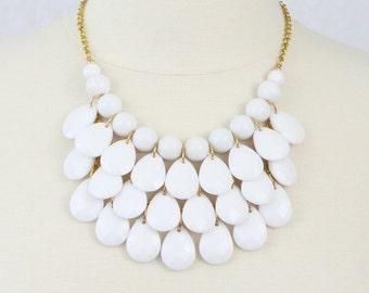 White Tear Drop Necklace Multi Layered Bib Necklace Statement Necklace True White Chunky Necklace