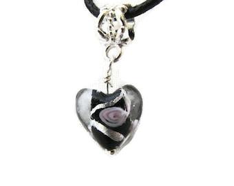 """Sweetheart  Black Lampwork Heart 17"""" Necklace (N101)"""