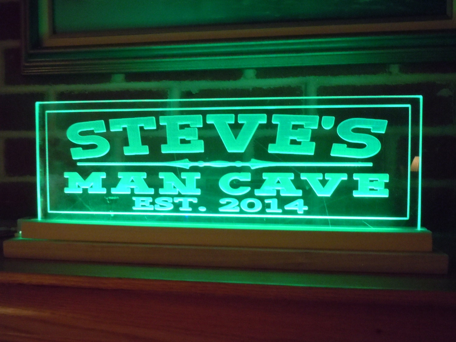 Man Cave Sign With Lights : Man cave sign led lighted acrylic personalized first name mans