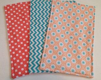 Orange and Blue Baby Burp Cloth Set