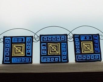 3 small stained glass windows, window-decoration, glassart,