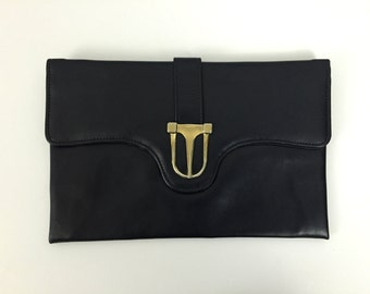 Navy Envelope Clutch - Vintage 1980s Leatherette Clutch