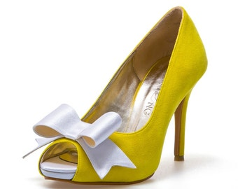 Yellow Wedding Heels, Yellow Suede Wedding Heels. Custom Made Wedding Heels, Yellow Bridal Heels