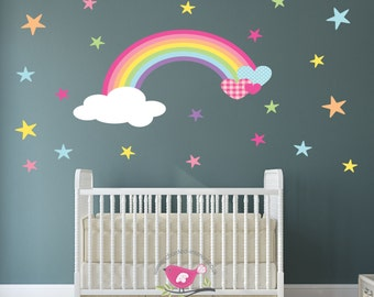 Rainbow Nursery Wall Decal heart, cloud and star wall stickers. Baby decor, toddler bedroom, Magical girl, spring time, summer pastel art