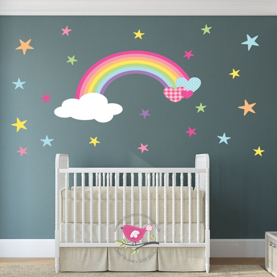 Rainbow nursery wall decal heart cloud and star wall for Baby room decoration letters