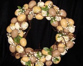 Unique Vintage Wreath Made of Eggs!  Farmhouse Chic! Shabby Kitchen
