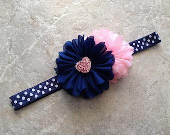 Navy pink headband, newborn headband, baby headband, baby girl headband, flower headband, shabby chic flower, heart headband, polka dots