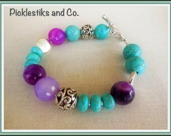 Bracelet Beaded Turquoise Purple Silver