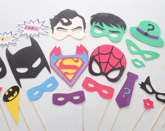 25pc * Superhero Party Photo Booth Props/Photobooth Props