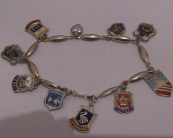Vintage sterling silver enamel shield charm bracelet