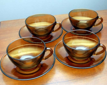 Four vintage Expresso cups with saucers home decor kitchen coffee vintage cafe