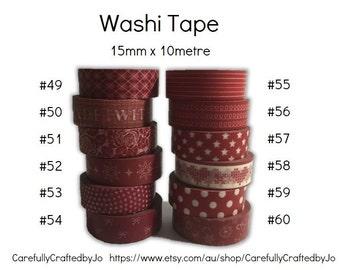 Washi Tape - Dark Red - 15mm x 10 metres - High Quality Masking Tape