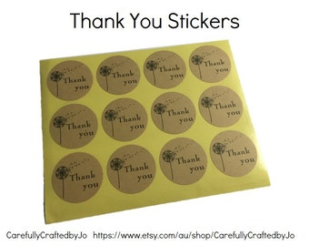 Set of 60,120,180 - Thank You  Dandelion Stickers - 3.5cm Round Kraft Stickers / Envelope