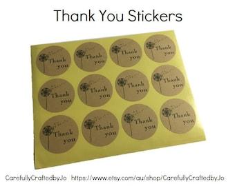 Set of 60,120,180 - Thank You  Dandelion Stickers - 3.5cm Round Kraft Stickers / Envelope