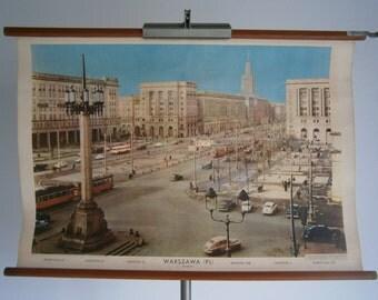 Vintage pull down school chart, Warsaw, Poland