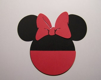 12 Mickey Heads 3 inch with bow and red pocket cardstock die cuts