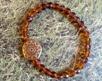 Tibetan Style Stretch Bracelet, Tibetan charm, rust/brown colored glass beads, Shiny and sophistated, Style, Fashion, Jewelry