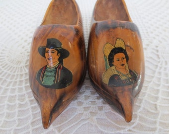 Miniature Clogs from Alsace France, Traditional Costume, Souvenir St. Michel