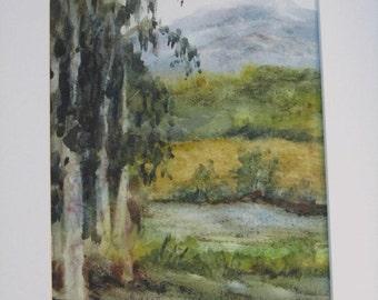 original watercolor painting, eucalyptus trees, blues, greens