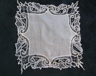 antique lace wedding hanky, handworked