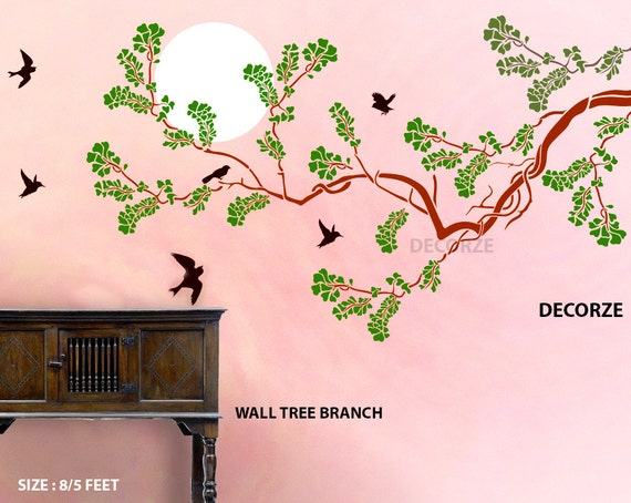 Large tree wall stencils painting 1 wall decal for Large tree template for wall