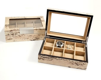 Exotic Ice Burl Wood 8 Watch Case with Glass Top and Velour Lining - Personalize it!