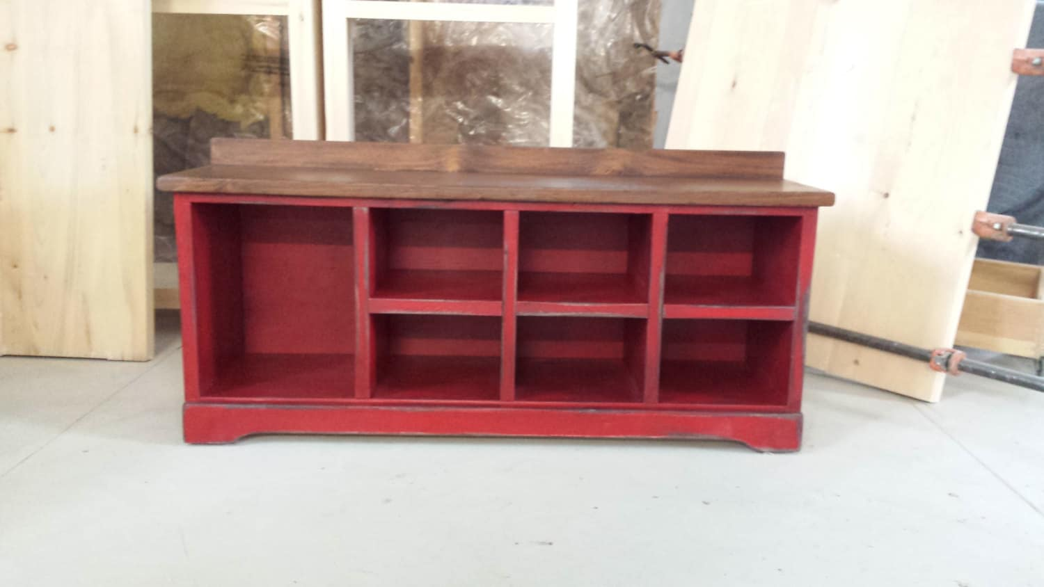 48 Long Shoe Bench Wood Cubbies Bench By