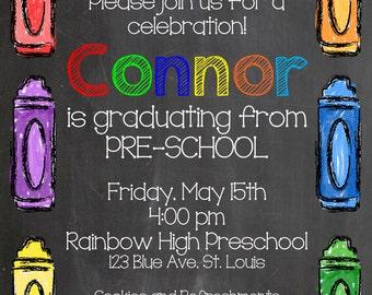 Class of 2017 Preschool or Kindergarten Graduation Party Invitation, Chalkboard theme, Digital File