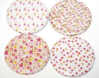 Pretty Floral Watercolor Designs Fridge Magnets Set of 4