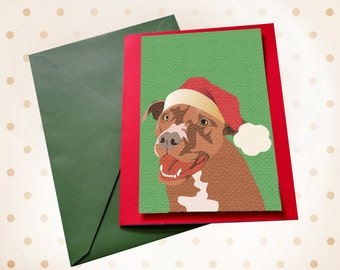 Dog Christmas card Pit Bull Staffordshire Terrier