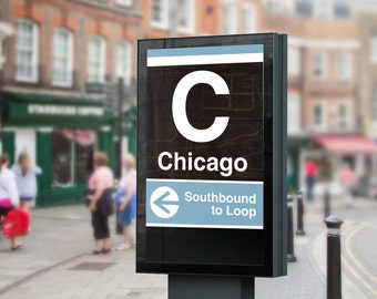 Chicago CTA L Train Poster -Chicago Stop, 16x20 Digital Print