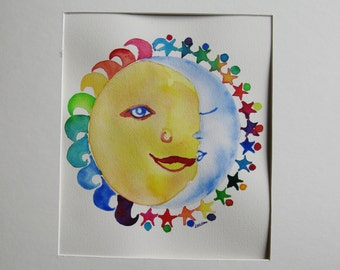 Sun moon watercolor painting, Original watercolor painting, sun moon painting, nursery decor, children room art