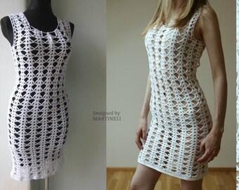 S/M White Crochet Dress, Lace Woman Dress, Wedding Lace Dress, Bridal Crochet Dress, Boho Chic Dress, Casual Dress, Romantic Crochet Dress