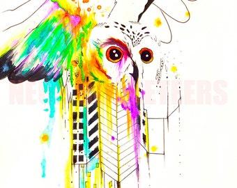 18x24 Owl City Original Watercolor Bird Art Print