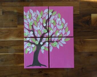 Set of 4 Canvas Tree Art, Nursery Room Decor, Girl