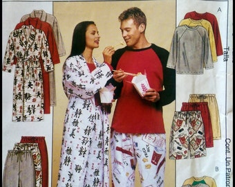McCall's P444  Misses', Men's And Teen Boys Robe, Top, Pull-On Pants Or Shorts  Size (Xlg-Xxl)  UNCUT