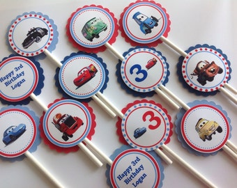 Disney Cars Birthday Cupcake Toppers Personalized - Set of 12