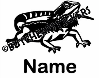 Bearded Dragon Decal/Sticker with Name or Custom Text 3X5