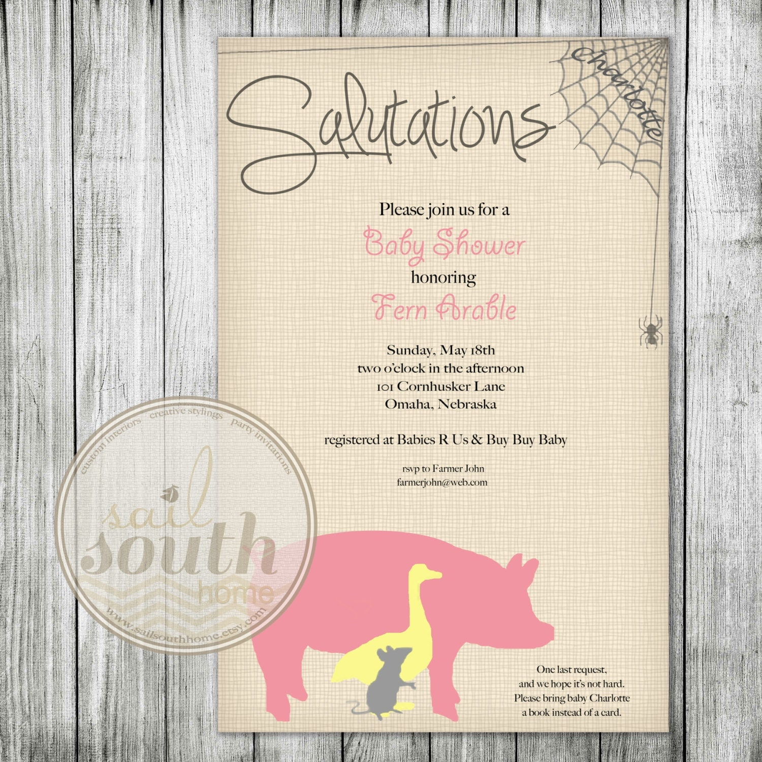 charlotte 39 s web party invitation custom baby shower